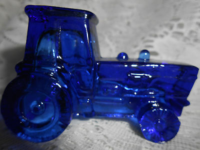 Blue Vaseline glass farm tractor uranium candy container Ford New Holland cobalt