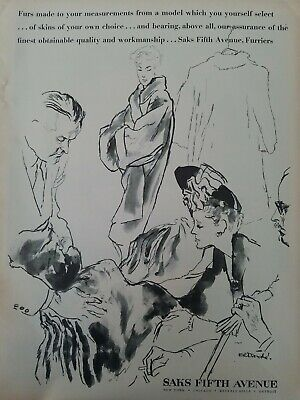 1944 Saks Fifth Avenue Rene Bouche vintage fashion art ad