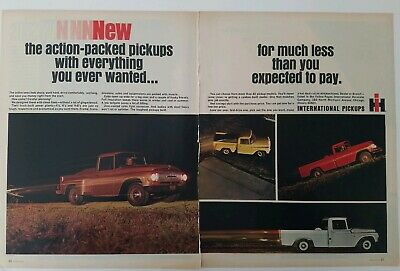 1965  IH International Harvester pickup trucks 2 page vintage ad