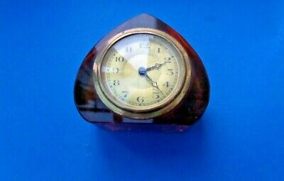 Vintage Amber Coloured Small Clock with Black Numerals & Hands on Gilt Face