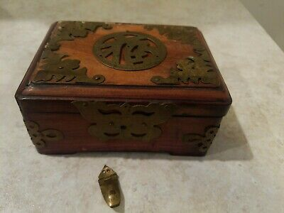Antique Chinese wood Brass Decorated Covered Box with Bats and Butterfly Design