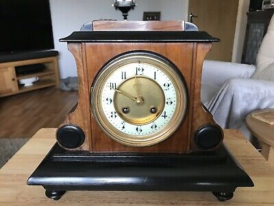 stunning walnut And Black Ebonised French Clock Strikes On A Bell