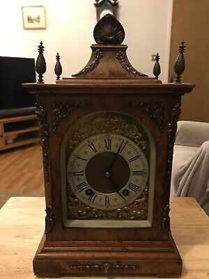 stunning Burr Walnut  Cased Lenzkirch Ting Tang Bracket/Mantle Clock