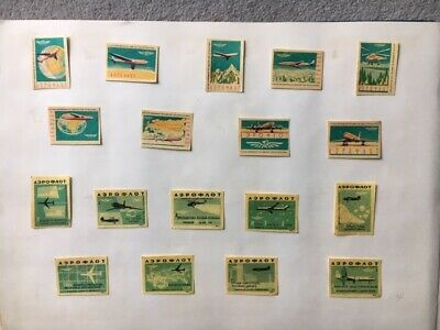 """Matchbox Labels Ussr Russia Old 1962 """"Airflot Airplaine"""" Lot Of 19"""