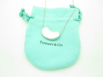 """Tiffany & Co. Sterling Silver Elsa Peretti Large 25mm Bean Pendant Necklace 20"""""""