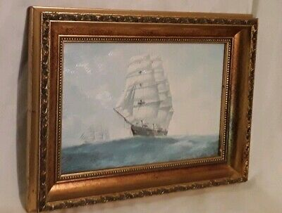 Beautiful Oil On Board Painting of A Tall Ship At Sea. (Seascape) In Gilt Frame
