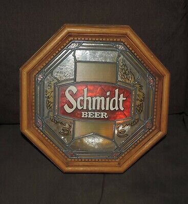 Working Schmidt Beer Stained Glass Style Lighted Sign Vintage Man Cave Bar Rare!