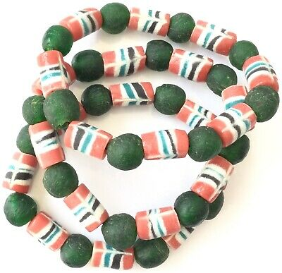 Handmade Ghana Fancy Happy Green Red multi bracelet-African Trade Beads-Ghana