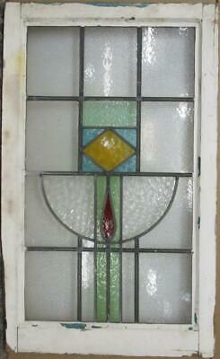 "LARGE OLD ENGLISH LEADED STAINED GLASS WINDOW Nice Geometric 20.5"" x 33.5"""