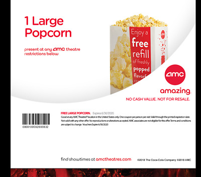 AMC 1 Large Popcorn - expires 6/30/20 - Edelivery