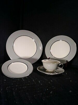 Castleton China..lyric..5 Piece Place Setting..plates, Cup And Saucer..gray