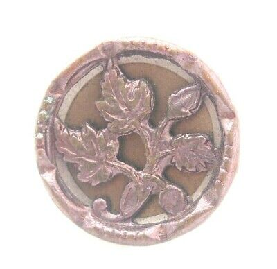 Antique Victorian Bronze Silver Gold Brass Foliage Floral Leaves Picture Button
