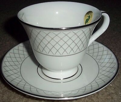 "Waterford fine English china Crosshaven Platinum 3"" tea cup & saucer place set"