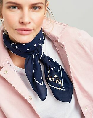 Joules Womens Tiewell Embroidered Neckerchief - NAVY TEXT in One Size
