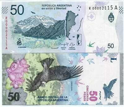 Argentina 50 Pesos Nd 2018 P 363 R-A Replacement Unc