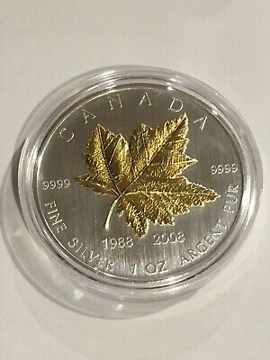 2008 Canada 20th Anniversary Gold plated Silver Maple Leaf 1 oz .9999