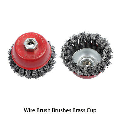 3 pcs Wire Brushes Brass Cup Wheel Rotary Brass Steel Wire Crimp Knot Brush Kit