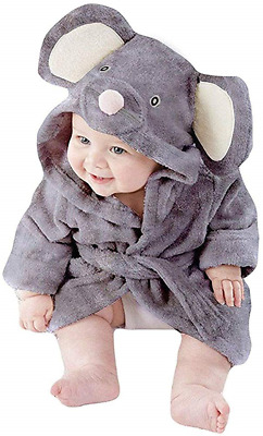 Boys Bathrobes Unisex Baby Girls Hooded Dressing Gown Fluffy Flannel Cotton for
