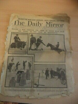 OLD VINTAGE ORIG NEWSPAPER 1910S daily mirror 13 jan 1917 WW1 GREAT WAR LOANS