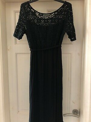 Ladies Black Blooming Marvellous Lace Detail Maternity Dress Size 10