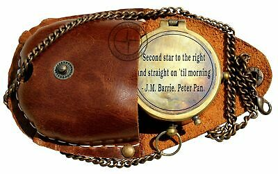 Second Star to The Right J. M. Barrie,Peter Pan Engraved Brass Compass with Case