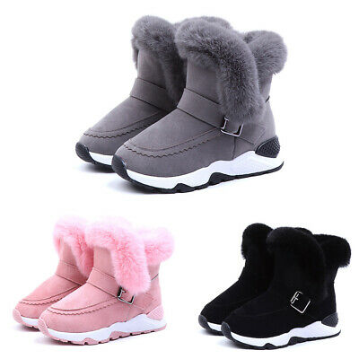 Toddler Kids Winter Sneakers Shoes Girls Boys Warm Fur Lined Snow Ankle Boots UK