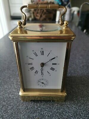 ANTIQUE or VINTAGE FRENCH 8 DAY MOVEMENT BRASS CARRIAGE CLOCK (HEX COLUMNS (2