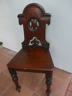 VICTORIAN mahogany HALL CHAIR with carved armorial cartouche style back ANTIQUE
