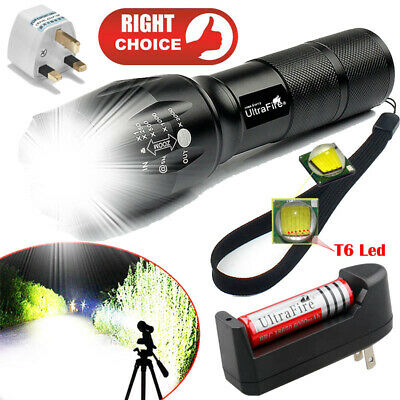 Tactical Light 350000LM T6 LED Flashlight Zoomable Torch + 18650 Battery+Charger