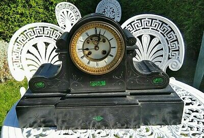 Victorian French Black Slate And Malachite Inlaid Antique Mantel Clock 8 Day