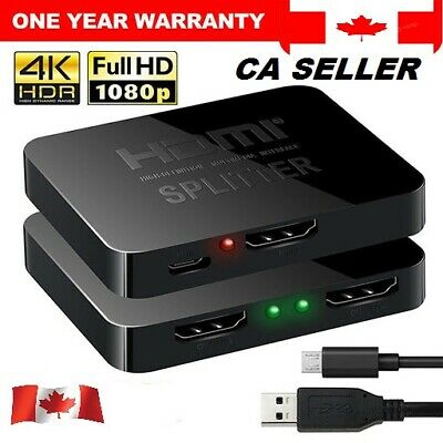 1 in 2 out 1080p HDMI 4K HDCP Stripper 3D Splitter Power Signal Amplifier Canada