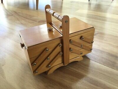 VINTAGE WOODEN 3 TIER CANTILEVER Folding SEWING BOX Small Size COLLECTABLE