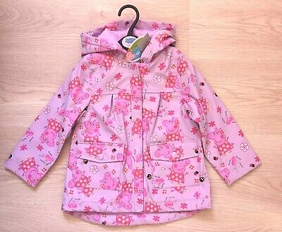 BNWT Ex TU Girls Kids Peppa Pig Fleece Lined Hooded Rubber Raincoat Jacket Coat