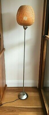 Floor Lamp Cane Shade Brushed Stainless Steel Base