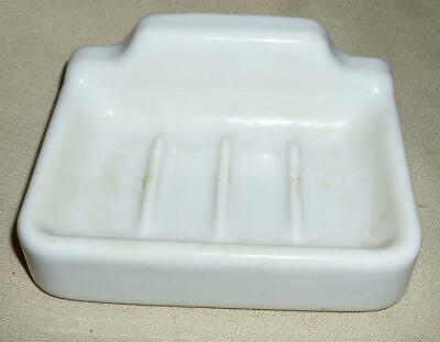 VTG 1950's 60's HEAVY WHITE PORCELAIN SOAP DISH HOLDER REPURPOSED FARM HOUSE