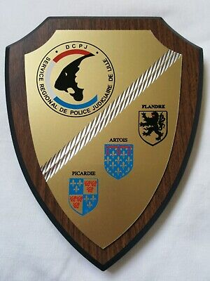 Police  plaque shield crest French France Police DCPJ Judiciaire De Lille
