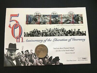 Qeii Guernsey Pnc Coin Cover 1995 Liberation 50Th Anniversary Churchill Coin