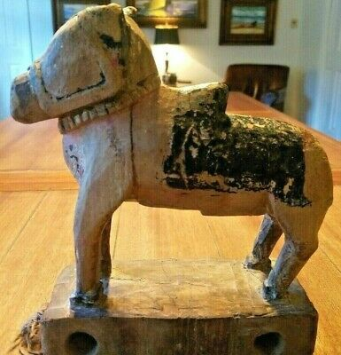 Ancient Antique Wooden Horse Pull Toy on Platform Extremely Rare Great Patina