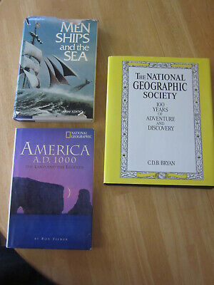 National Geographic 3 Book Lot Men Ships Sea America AD 1000 100 Years Adventure