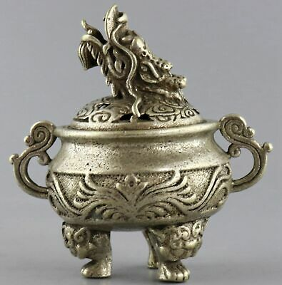 Collect Qianlong Years Old Tibet Silver Hand-Carved Exorcism Dragon Lucky Censer