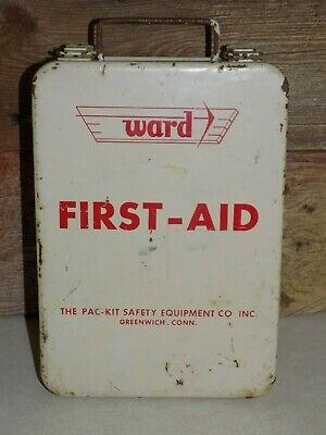 Vtg WARD MeTaL FiRST-AiD IndusTriaL CabineT SafetY hanging PAC-KiT Conn ConTenTs