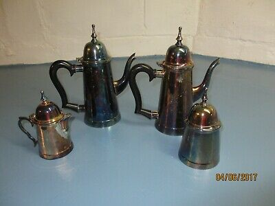 Silver Plated Coffee, Tea, Sugar Creamer Set Tarnished Silver Plate