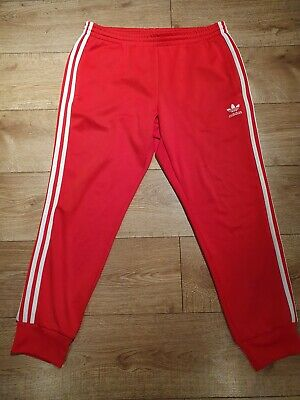 Adidas Tracksuit Bottoms Joggers Mens Trousers Pants Large Pant  Red