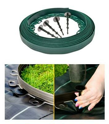 Garden Lawn Edging Grass Border Strips 10m+ 30 strong PEGS 4cm High [N- GREEN]