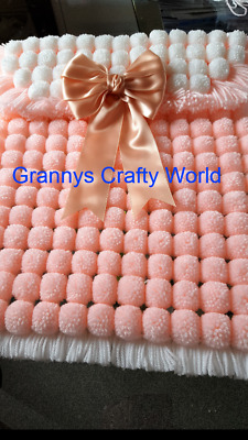 Pompom Blanket  - PEACH AND WHITE WITH PEACH SATIN BOW