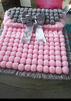 Pompom Blanket  - PINK AND GREY WITH GREY SATIN BOW