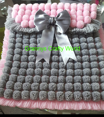 Pompom Blanket  - GREY AND PINK WITH GREY SATIN BOW
