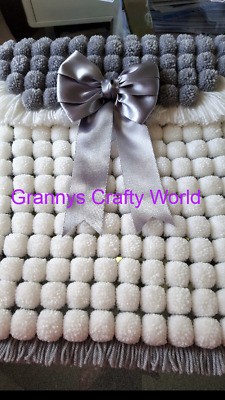 Pompom Blanket  - WHITE AND SILVER GREY WITH GREY SATIN BOW