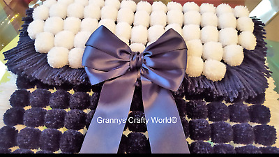 Pompom Blanket  - NAVY AND WHITE WITH MATCHING SATIN BOW