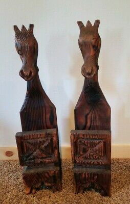 """WITCO Pair Horses Tiki Mid Century Modern Carved Wooden 32"""" MCM Damaged"""